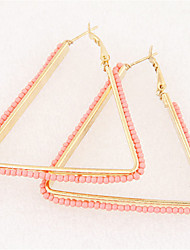 Hoop Earrings Resin Alloy Fashion Triangle Shape White Black Blue Pink Golden Jewelry Party Daily Casual 1 pair