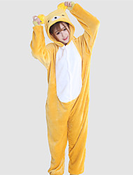 Kigurumi Pyjamas Bär / Waschbär Gymnastikanzug/Einteiler Halloween Tiernachtwäsche Gelb Patchwork Korallenfleece Kigurumi UnisexHalloween