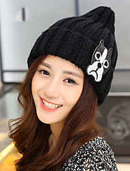 Women Cartoon Puppy Pattern Knit Wool Cap Pointy Warm Patch Hat