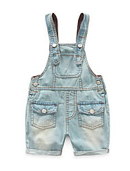2016 New Arrival Boys Girls Solid Denim Jumpsuits Kids Hemming Overalls Children Brand Jeans Pants