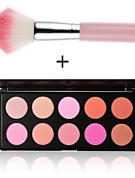 10 Farben Rouge Make-up Kosmetik erröten Puder-Palette neu pink professionelle Make-up-Tools + 1pcs Make-up Pinsel stieg