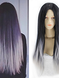 Women Granny Grey Black Tone Cosplay Long Straight Synthetic Hair Wigs Medium Bang with Free Hair Net