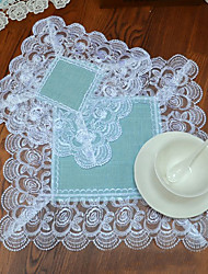 6pcs/lot Beach Theme Flax Square European Table Mat Handmade Doilies Chic Coasters Cup Mat