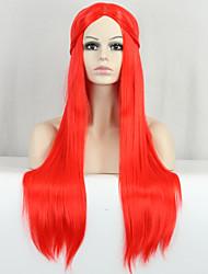 nouvelle cosplay rouge qualité longue ligne droite sombre perruque synthétique