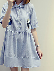 Going out / Plus Size Simple A Line Dress,Striped Shirt Collar Knee-length Short Sleeve Blue Cotton Summer High Rise