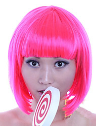 8 inch Cosplay Women Bobo Short Straight Synthetic Hair Wig Full Bang Rose with Free Hair Net