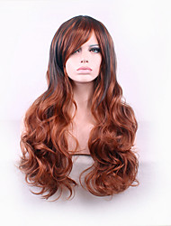 Best-selling Europe And The United States Long Curly Wig Brown Dyed Polyester Side Hair Wigs