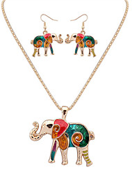 Women European Style Fashion Colorful  Naughty Elephant Necklace Earring Set