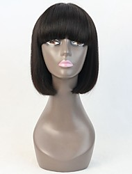 8Inch Machine Made Wig Human Hair Short Bob Lace Wig with hair Cut Bang