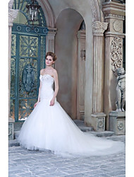 A-line Wedding Dress Sweep / Brush Train Sweetheart Satin with Appliques / Beading