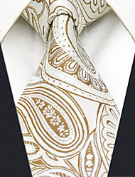 Men's 100% Silk  Tie Paisley Yellow  Business Necktie