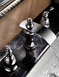 Widespread Two Handles Three Holes in Chrome  Bathroom Waterfall Sink Faucet Deck Mounted