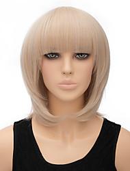 moda luz natural loira bobo cor reta perucas peruca sintética