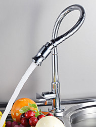 Contemporain Pull-out / Pull-down Montage Pivotant with  Soupape céramique Mitigeur un trou for  Chrome , Robinet de Cuisine