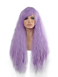 dame mauve bouclés perruques cosplay cheveux perruques de cheveux synthétiques