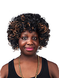 Fashion Women's Glueless Multi-color Curly Short Hair Wig for African American