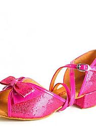 Latin Kid's Dance Shoes Sandals Paillette Cuban Heel Gold/Silver/Blue/Peach
