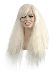 beliebte natürliche Welle langen weißen Partei Farbe Frau synthetische Perücken