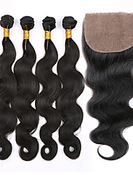 Hair Weft with Closure Peruvian Texture Body Wave 12 Months 5 Pieces hair weaves