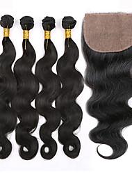 Trame cheveux avec fermeture Cheveux Péruviens Ondulation naturelle 12 mois 5 Pièces tissages de cheveux
