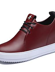 Черный / Бордовый-Женская обувь-Для офиса / Для праздника / На каждый день-Дерматин-На плоской подошве-Удобная обувь-Кроссовки