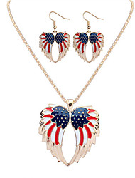 Women European Style Fashion Angel Wings Flag Necklace Earring Set