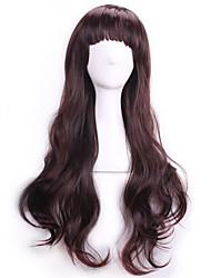 dames brun foncé perruques synthétiques ondulées sexy bouclés naturels réalistes perruques  cosplay perruque de cheveux
