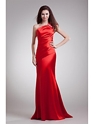 Formal Evening Dress Sheath / Column One Shoulder Sweep / Brush Train Stretch Satin with Bow(s) / Side Draping