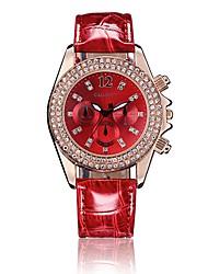 reloj gacarny 6833 caja del diamante manera de las señoras vestido de la muñeca de cuarzo analógico banda de cuero de la PU (color