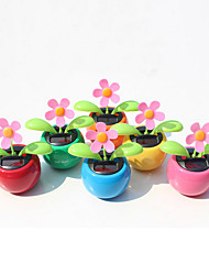 Home Decorating Solar Power Flower Plants Moving Dancing Flowerpot Swing Solar Car Toy Gift(Random Color)