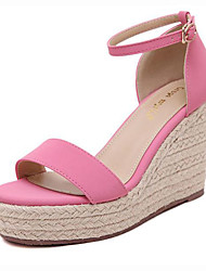 Women's Summer Wedges Leather Casual Wedge Heel Black / Pink