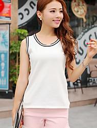 Women's Striped White / Black / Gray Vest,Simple / Street chic Sleeveless