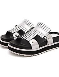 Черный / Серебристый-Женская обувь-На каждый день-Материал на заказ клиента-На платформе-Тапочки-Тапочки