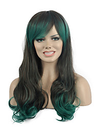 High Quality Long Wave Green Color Woman's Party Synthetic Wigs