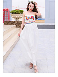 Women's Beach Boho Swing Dress,Floral Strapless Maxi Sleeveless White Cotton / Polyester Summer