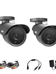 SANNCE® 2 PCS 900tvl 42pcs LED, Up To 110 FT Night Vision High Resolution CCTV Security Cameras (Black)