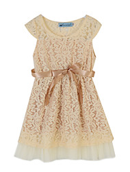 Girl's Jacquard Dress,Cotton Summer Pink / Yellow