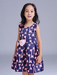 Girl's Blue Dress,Animal Print Polyester Summer