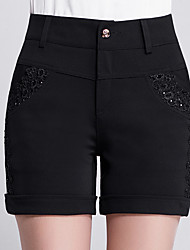 Women's High Rise Micro-elastic Shorts Pants,Slim Jacquard Solid