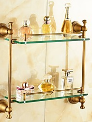 Antique Brass Plated Brass Material Bathroom Shelves