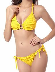 Damen Bikini - Einfarbig / Mit Schleife Polyester / Elasthan Halfter