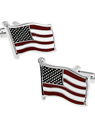 Men's Fashion US Flag Silver Alloy French Shirt Cufflinks (1-Pair)