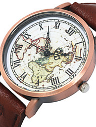 Women/Men's Fabric Denim Band Analog World Map Case  Wrist Watch Jewelry Fashion Watch
