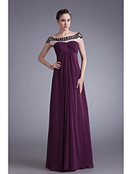 A-line Mother of the Bride Dress Floor-length Chiffon with Crystal Detailing / Side Draping