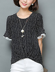Women's Striped Blue / White Blouse,Round Neck Short Sleeve