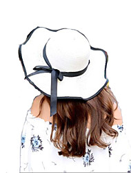 Women Summer Solid Straw Bowknot Middle Wave Brim Foldable Straw Sun Hat 4 Colors Available