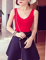 Women's Solid Red / White / Black / Gray Vest,Street chic Sleeveless