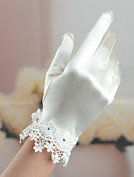 Wrist Length Fingertips Glove Satin / Elastic Satin Bridal Gloves / Party/ Evening Gloves Spring / Summer / Fall / Winter IvoryRhinestone