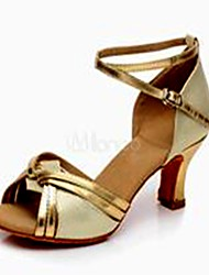 Non Customizable Women's Dance Shoes Paillette Paillette Latin Heels Cuban Heel Practice / Indoor Silver / Gold