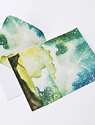 Watercolor night letter set envelope (2 envelope 4 stationery, stationery envelope 16.2*11.4CM, 15.9*22CM, random color)